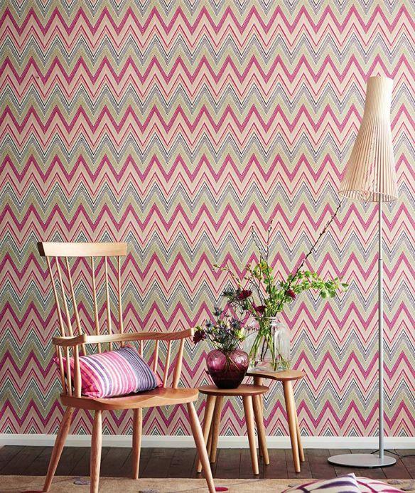 Geometric Wallpaper Wallpaper Vasuki crimson violet  Room View