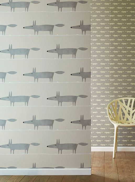 Vintage Wallpaper Wallpaper What does the Fox say grey Room View