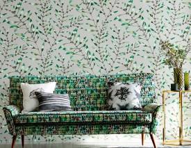 Wallpaper Mathea Matt Leaf tendrils White aluminium Shades of green Umbra grey