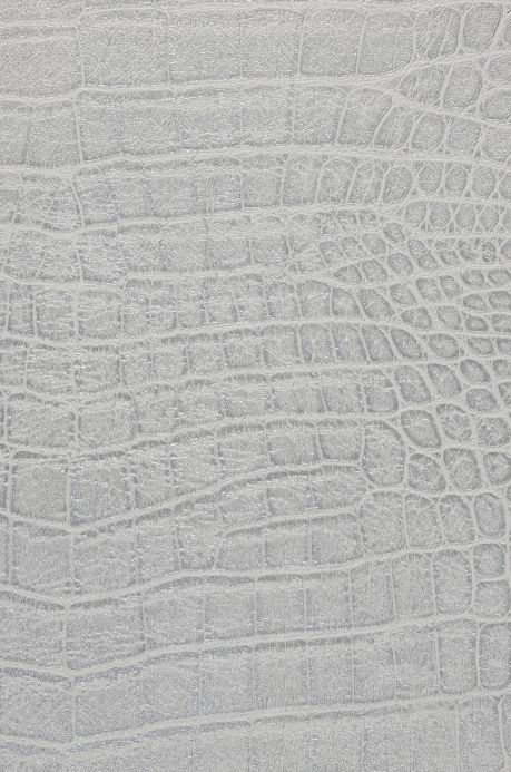 Leather wallpaper Wallpaper Reptile 01 white aluminium A4 Detail