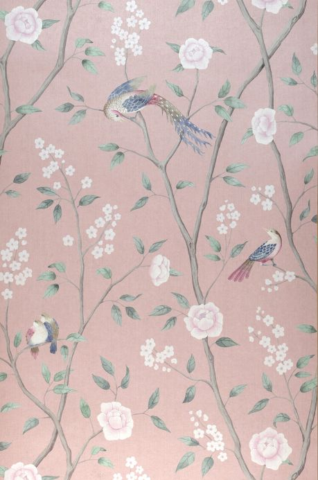 Papel pintado floral Papel pintado Leonidas palo de rosa pálido Ancho rollo