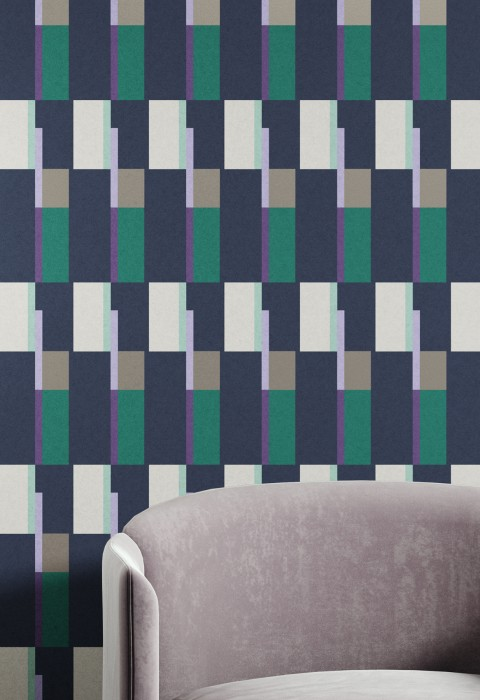 Wallpaper Haldis Matt Geometrical elements Rectangles Black blue Grey white Light green Opal green Pearl beige Violet