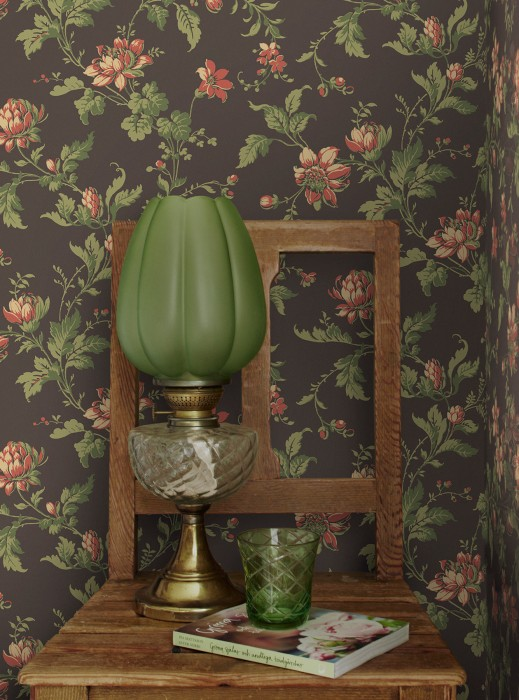 Wallpaper Astrid Hand printed look Matt Flower tendrils Umbra grey Ivory Olive green Red Reed green