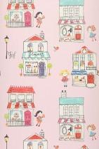 Papier peint My little shop Mat Maisons Personnes Rosé clair Jaune Vert jaune Turquoise pastel Rouge Blanc