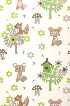 Wallpaper Pepko Matt Trees Blossoms Animals Birdhouses Cream Beige brown Grey beige shimmer Grey brown Green