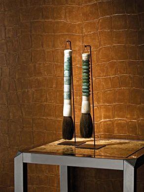 Papel pintado Croco 10 marrón oro Ver habitación