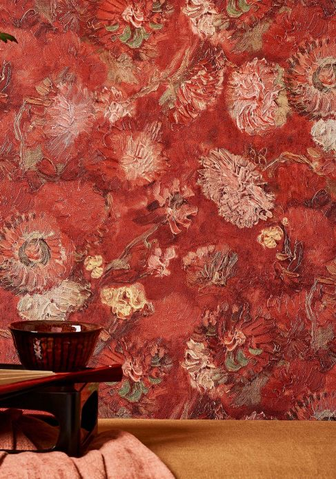 Floral Wallpaper Wallpaper VanGogh Peonies brown red Room View