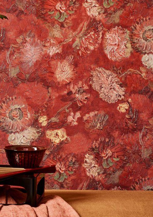 Papel pintado floral Papel pintado VanGogh Peonies rojo parduzco Ver habitación