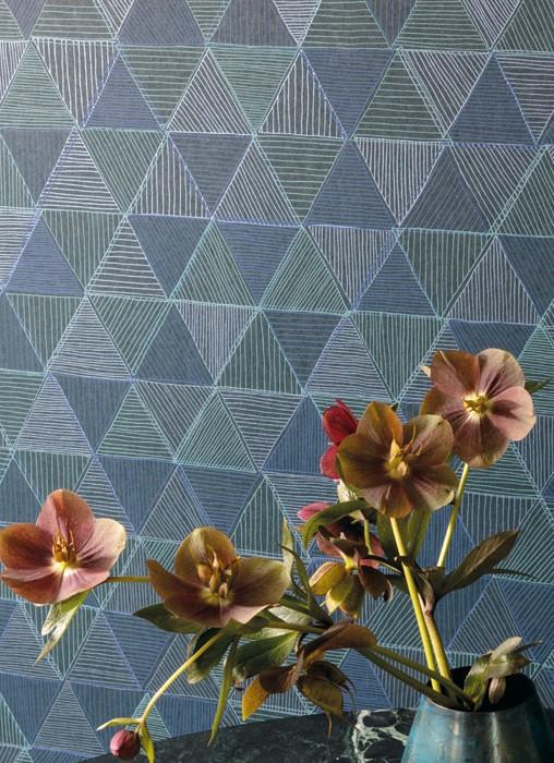 Wallpaper Mikada Matt Triangles Black Shades of blue Mint turquoise