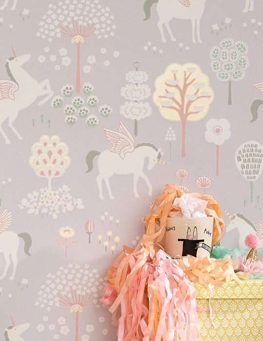 Wallpaper True Unicorns Hand printed look Matt Trees Flowers Unicorns Light grey Cream Gold yellow shimmer Green Rosewood