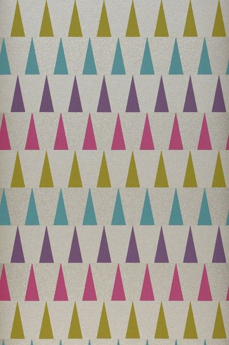 Wallpaper Magica Matt pattern Shimmering base surface Triangles Light grey beige Green yellow Lila Magenta Turquoise blue