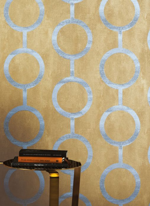 Geometric Wallpaper Wallpaper Florin matt gold Room View