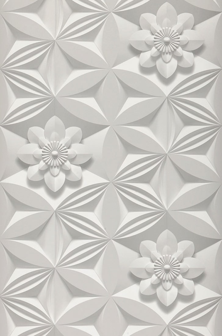 3d flowers branco acinzentado cinza platina cinza pedra - Papel pared 3d ...