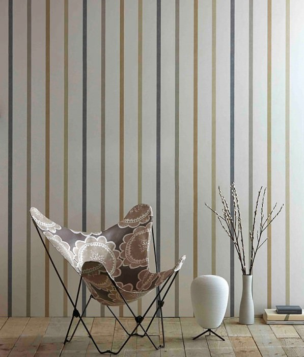 Wallpaper Sabira Matt Stripes Cream Beige grey Dark grey Grey beige Pebble grey