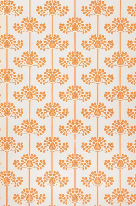 Wallpaper Valerie Matt Stylised flowers White Orange