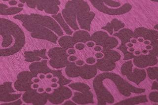 Wallpaper Leandra Shimmering Baroque damask Violet Crimson violet