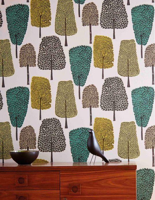 Papel de parede para cozinha Papel de parede Davila verde Ver quarto