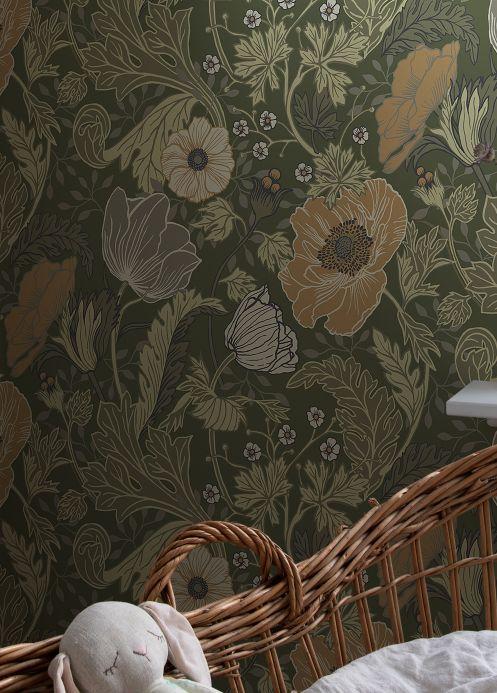 Papier peint Papier peint Soria vert pin Vue pièce