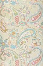 Wallpaper Delba Matt Floral Elements Paisley pattern Cream Heather violet Gorse yellow shimmer Pastel turquoise Pearl beige