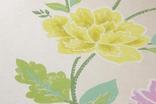 Wallpaper Forseti Hand printed look Matt Flowers Oyster white Pale violet Green Green yellow Pink
