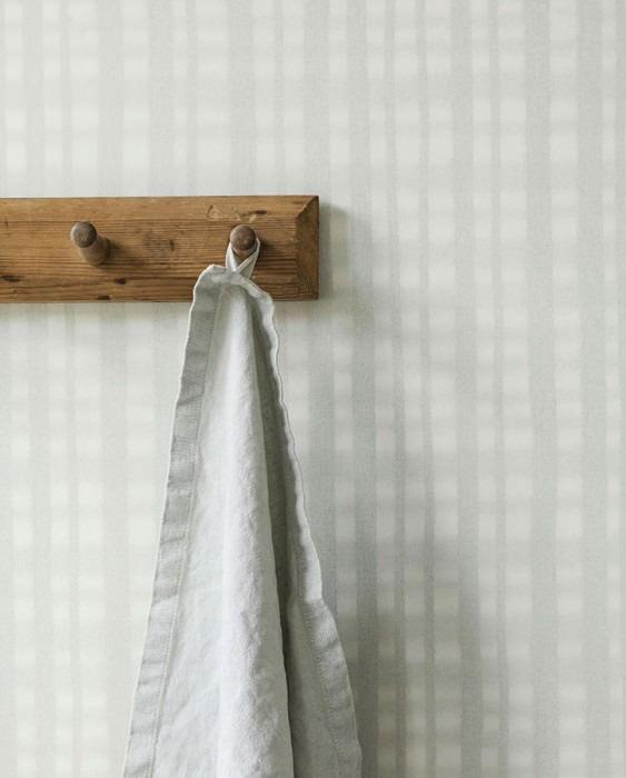 Wallpaper Auro Matt Plaid Pale grey green Cream