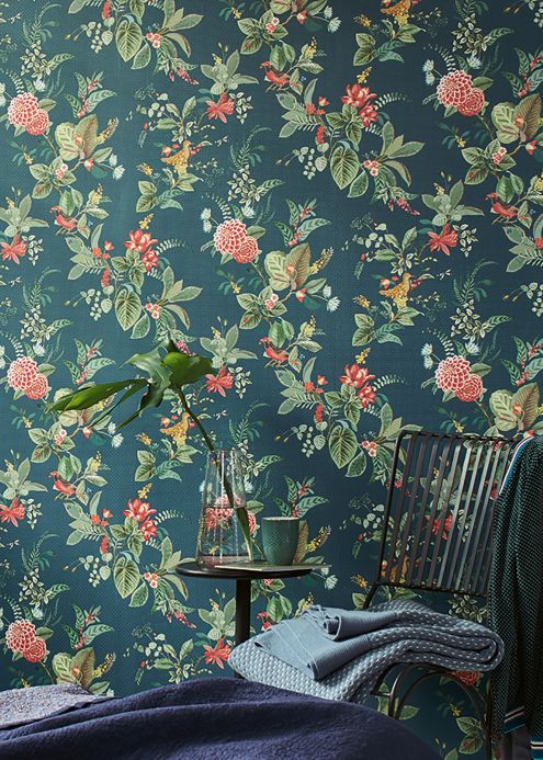 Floral Wallpaper Wallpaper Sylvania ocean blue Room View