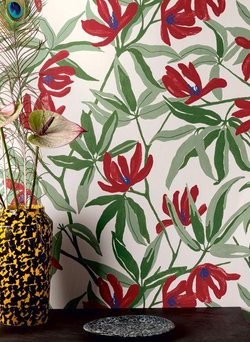 Floral Wallpaper Wallpaper Tarbana crimson red Room View