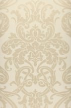 Wallpaper Maradila Shimmering pattern Matt base surface Baroque damask Cream Pale gold