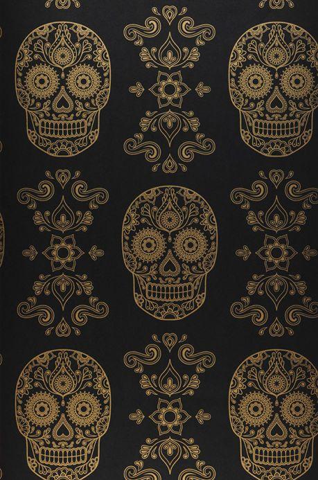 Papier peint Papier peint Dia de los Muertos noir Largeur de lé