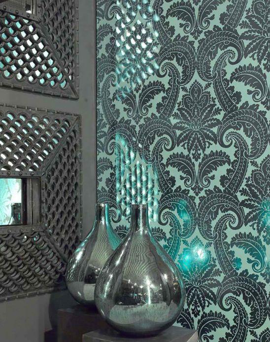 Damask Wallpaper Wallpaper Nemesis emerald green lustre Room View
