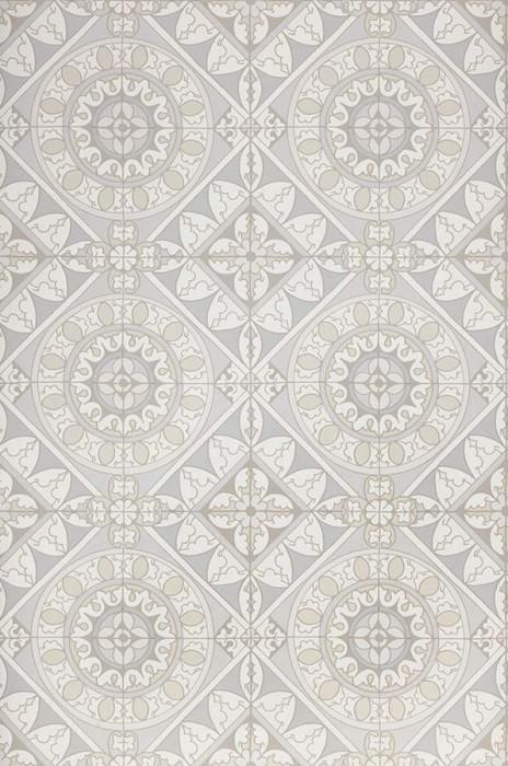 Papel pintado Borromeo Mate Motivo cerámica oriental Gris azulado Blanco grisáceo Gris claro  Blanco Gris pálido
