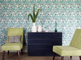 Wallpaper Zwegi Matt Stylised trees Cream Grey blue Turquoise