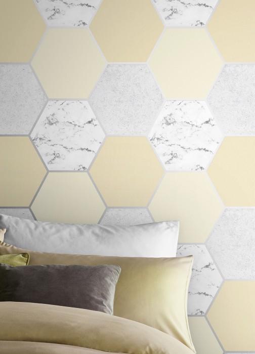 Tapete Novara Muster schimmernd Untergrund matt Hexagone Marmor-Imitation Graphitgrau Grauweiss Hellgelb Zartgelb Silber Schimmer