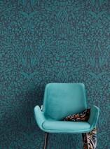 Papier peint Cortona Aspect impression à la main Mat Feuilles Art nouveau Noir Bleu océan