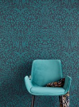 Wallpaper Cortona Hand printed look Matt Leaves Art nouveau Black Ocean blue