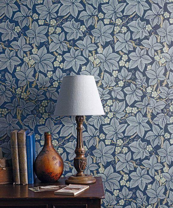 Papier peint botanique Papier peint Tamara bleu Vue pièce