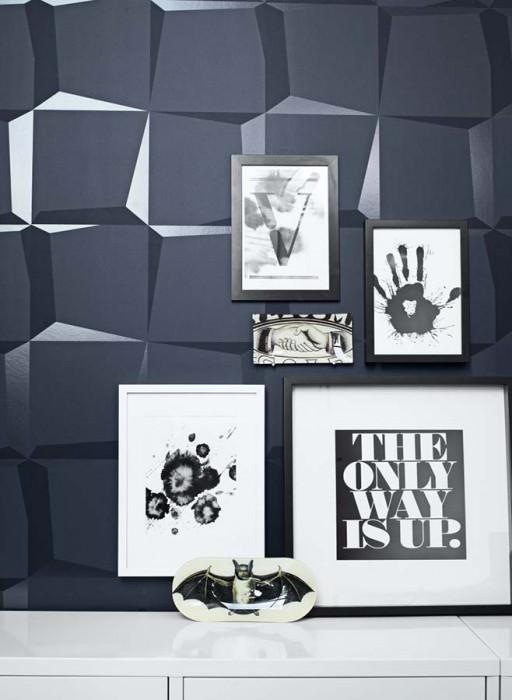 Papier peint 3D-Squares Mat Carrés Gris noir Noir  Gris noir lustre