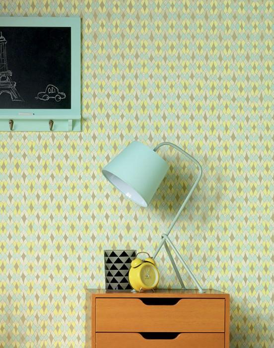 Wallpaper Tilos Matt Rhombuses Cream Bright yellow Light green Olive yellow