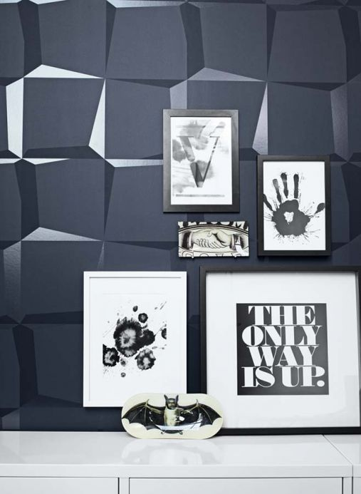 Archiv Wallpaper 3D-Squares black grey Room View