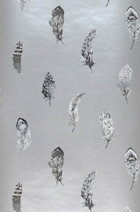 Wallpaper Feathers Matt Feathers Pearl light grey Grey tones