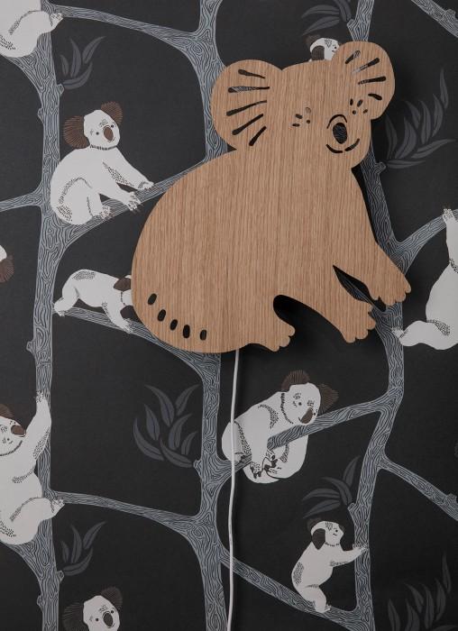 Papel de parede Koala Mate Árvores Coalas Cinza escuro Verde oliva Cinza esbranquiçado