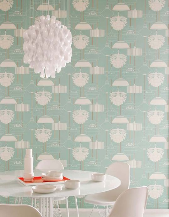 Archiv Wallpaper Sobek pastel turquoise Room View