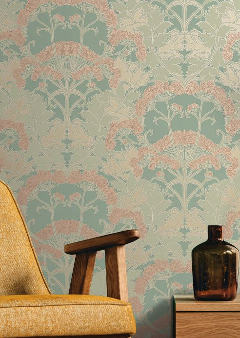 Classic Wallpaper Wallpaper Zarabia reseda-green Room View