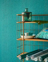 Wallpaper Kelem Shimmering pattern Iridescent base surface Stripes Water blue Turquoise blue glitter