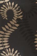 Wallpaper Amphion Shimmering pattern Matt base surface Leaves Stylised tendrils Anthracite Gold Black