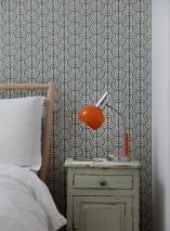 Wallpaper Yamila Matt Bends Triangles Cream Pine green Sand yellow