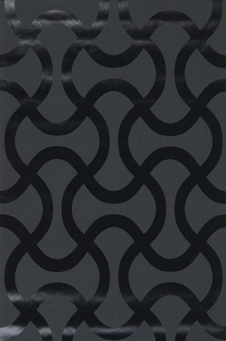 Wallpaper Beltone Shiny pattern Matt base surface Waves Black Black lacquer