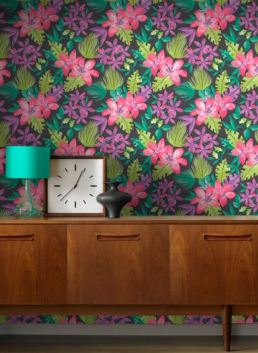 Wallpaper Kate Matt Leaves Blossoms Grey Heather violet shimmer Light green Patina green shimmer Violet