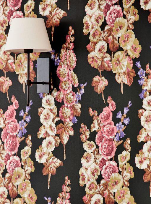 Papel pintado floral Papel pintado Wanda negro Ver habitación