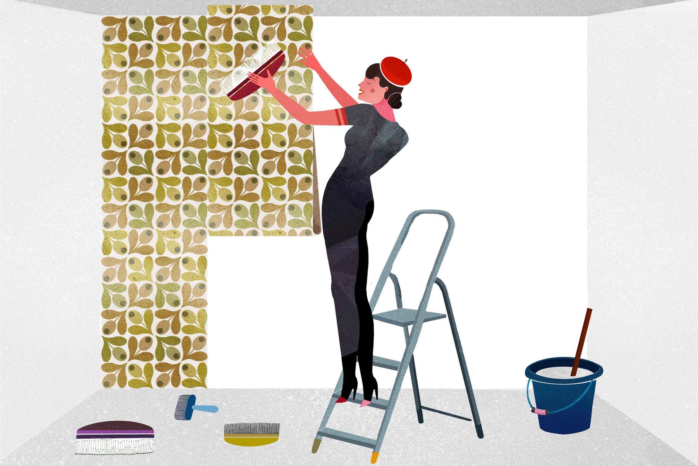 Como-pendurar-papel-de-parede-a-base-de-papel-Coloque-as-tiras-de-papel-de-parede-na-parede